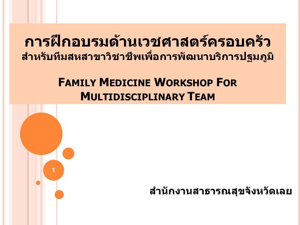 การฝึกอบรมด้านเวชศาสตร์ครอบครัว สำหรับทีมสหสาขาวิชาชีพเพื่อการพัฒนาบริการปฐมภูมิ F AMILY M EDICINE W ORKSHOP F OR M ULTIDISCIPLINARY T EAM สำนักงานสาธ