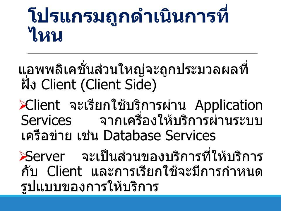 Two Tier Architecture  Client เป็นตัวร้องขอบริการ  Server ทำหน้าที่ให้บริการ