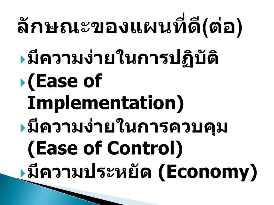  มีความง่ายในการปฏิบัติ  (Ease of Implementation)  มีความง่ายในการควบคุม (Ease of Control)  มีความประหยัด (Economy)