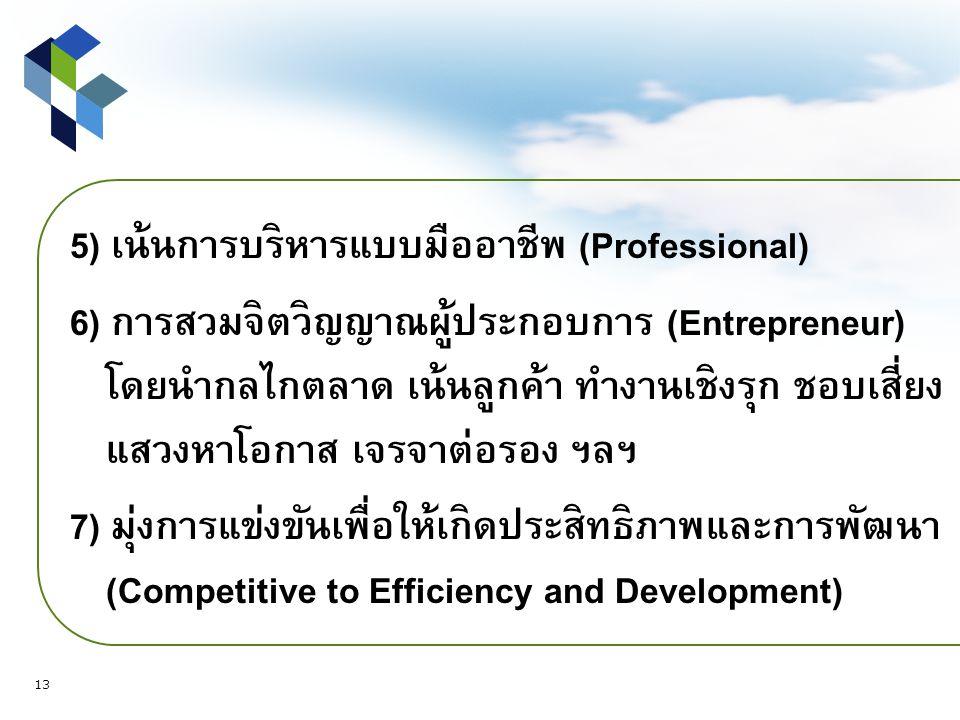 5) เน้นการบริหารแบบมืออาชีพ (Professional) 6) การสวมจิตวิญญาณผู้ประกอบการ (Entrepreneur) โดยนำกลไกตลาด เน้นลูกค้า ทำงานเชิงรุก ชอบเสี่ยง แสวงหาโอกาส เจรจาต่อรอง ฯลฯ 7) มุ่งการแข่งขันเพื่อให้เกิดประสิทธิภาพและการพัฒนา (Competitive to Efficiency and Development) 13
