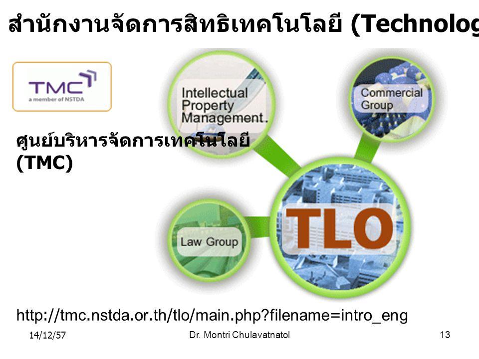 14/12/57Dr. Montri Chulavatnatol13 http://tmc.nstda.or.th/tlo/main.php?filename=intro_eng สำนักงานจัดการสิทธิเทคโนโลยี (Technology Licensing Office :