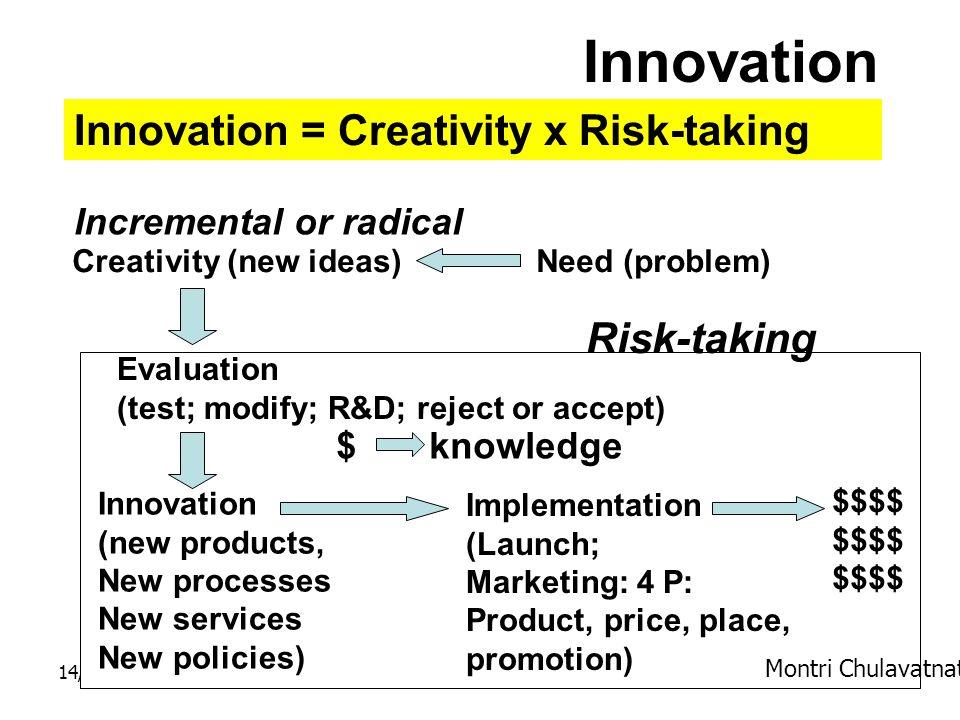 14/12/57Dr. Montri Chulavatnatol8 Innovation Innovation = Creativity x Risk-taking Creativity (new ideas) Evaluation (test; modify; R&D; reject or acc