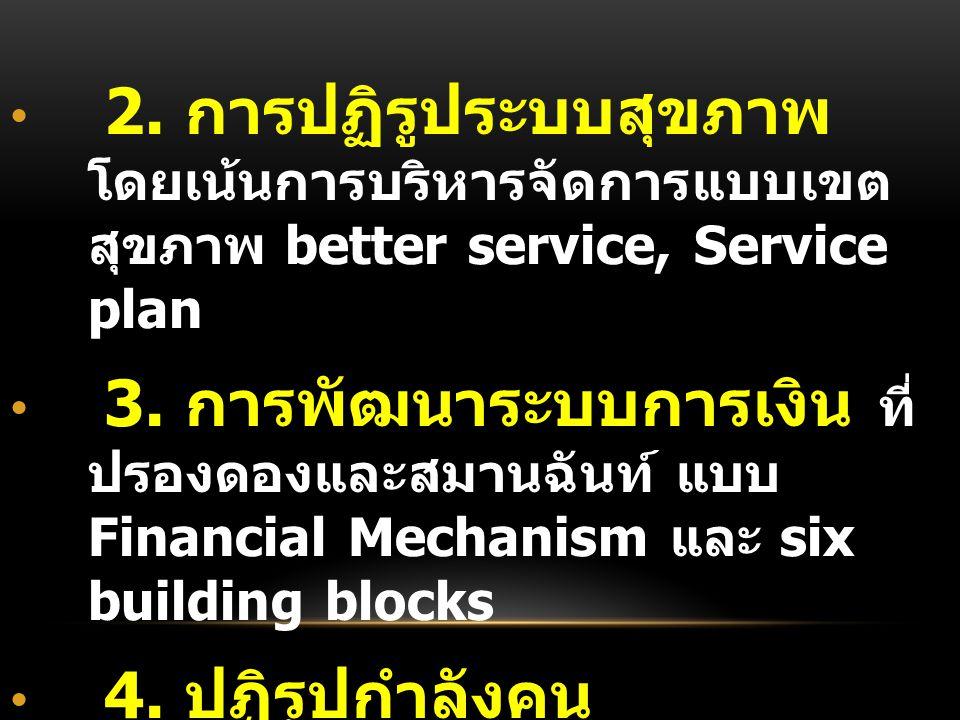 2. การปฏิรูประบบสุขภาพ โดยเน้นการบริหารจัดการแบบเขต สุขภาพ better service, Service plan 3.