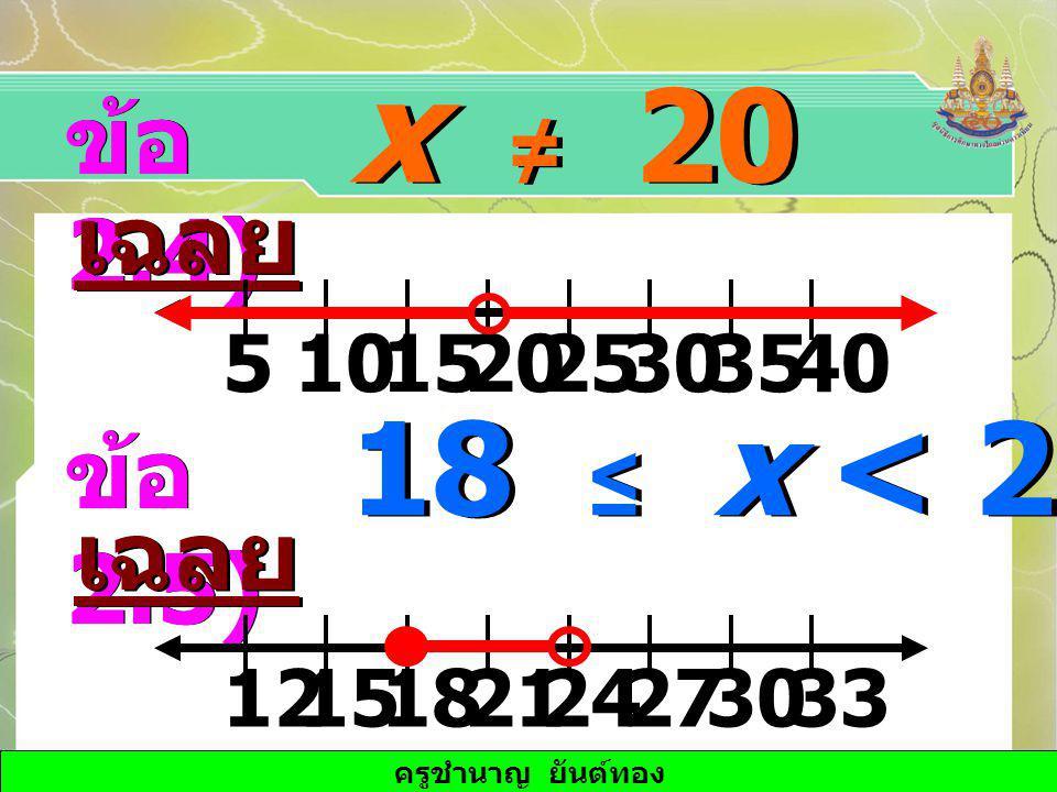 ครูชำนาญ ยันต์ทอง x ≠ 20 ข้อ 2.4) เฉลย 151025203053540 18 ≤ x < 24 ข้อ 2.5) เฉลย 1815242127123033