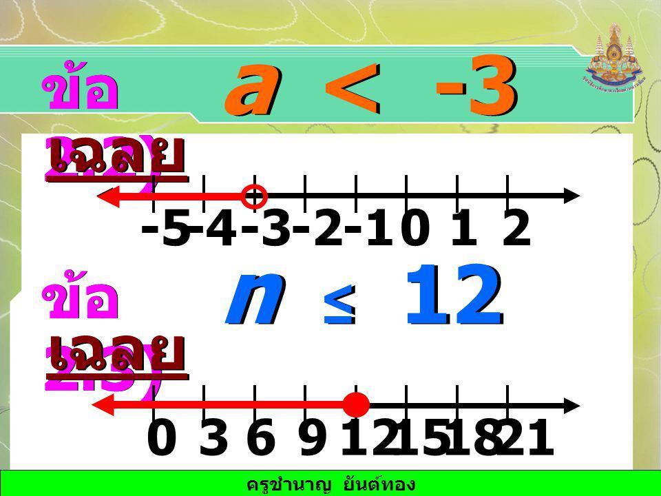 ครูชำนาญ ยันต์ทอง a < -3 ข้อ 2.2) เฉลย -3-4-20-512 n ≤ 12 ข้อ 2.3) เฉลย 631291501821