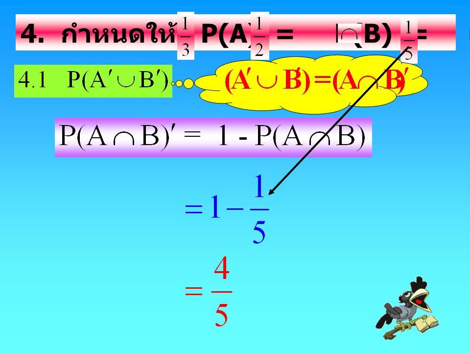 4. กำหนดให้ P(A) = P(B) = และ P(A B) = แล้ว