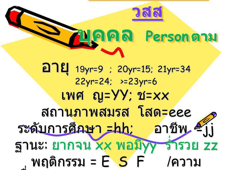 การกระจายของ Dt+Rx ในชุมชน วสส บุคคล Person ตาม อายุ 19yr=9; 20yr=15; 21yr=34 22yr=24;>=23yr=6 เพศ ญ =YY; ช =xx เพศ ญ =YY; ช =xx สถานภาพสมรส โสด =eee