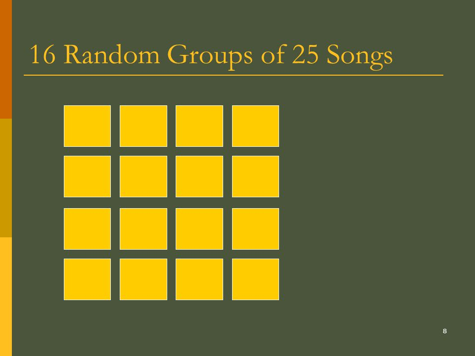 8 16 Random Groups of 25 Songs