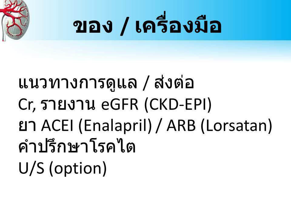 ของ / เครื่องมือ แนวทางการดูแล / ส่งต่อ Cr, รายงาน eGFR (CKD-EPI) ยา ACEI (Enalapril) / ARB (Lorsatan) คำปรึกษาโรคไต U/S (option)