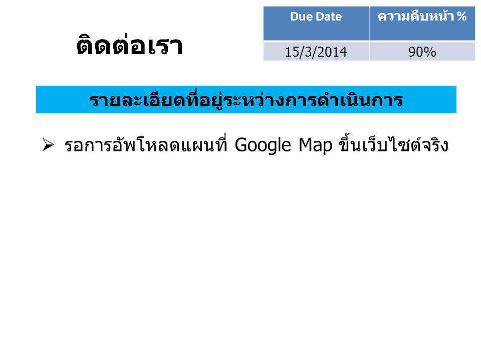 ติดต่อเรา Due Date ความคืบหน้า % 15/3/201490% รายละเอียดที่อยู่ระหว่างการดำเนินการ  รอการอัพโหลดแผนที่ Google Map ขึ้นเว็บไซต์จริง