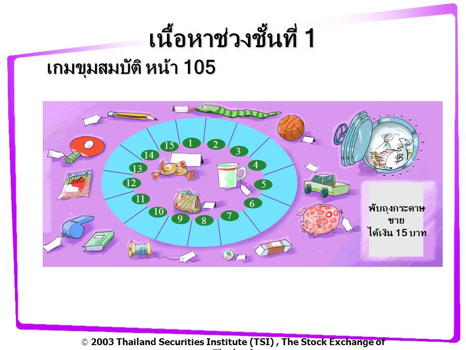  2003 Thailand Securities Institute (TSI), The Stock Exchange of Thailand เนื้อหาช่วงชั้นที่ 1 ใบงาน เกมขุมสมบัติ หน้า 52 1 2 3 4 5 6 7 8 9 10 11 12 13 14 15 รวมเงินรายได้.........100......
