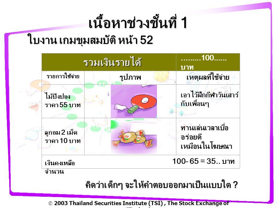  2003 Thailand Securities Institute (TSI), The Stock Exchange of Thailand เนื้อหาช่วงชั้นที่ 1 ทำรายรับ-จ่าย อย่างง่าย *ไม่มีในคู่มือ รายรับรายจ่ายคงเหลือวันที่ 30 เมษายน 48 10 บาท5 บาท 2 บาท 5 บาท 3 บาท