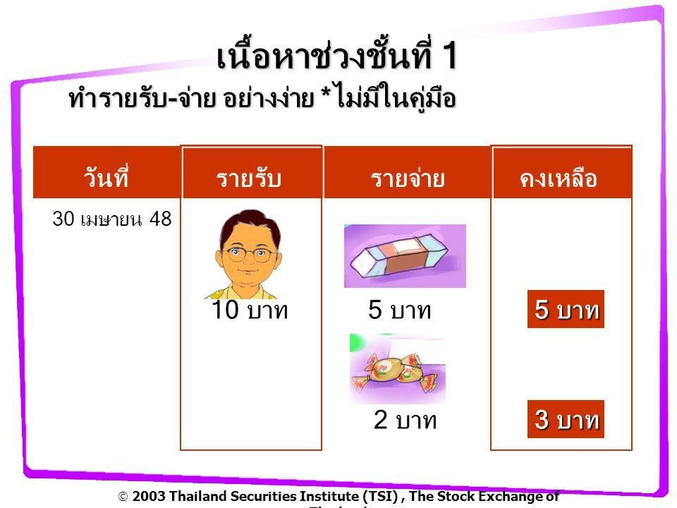  2003 Thailand Securities Institute (TSI), The Stock Exchange of Thailand เนื้อหาช่วงชั้นที่ 1 รายรับรายจ่ายของครอบครัว หน้า54 จำนวนเงิน ผู้เรียนมีส่วนร่วม.