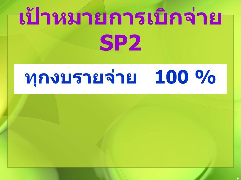 9 เป้าหมายการเบิกจ่าย SP2 ทุกงบรายจ่าย 100 %