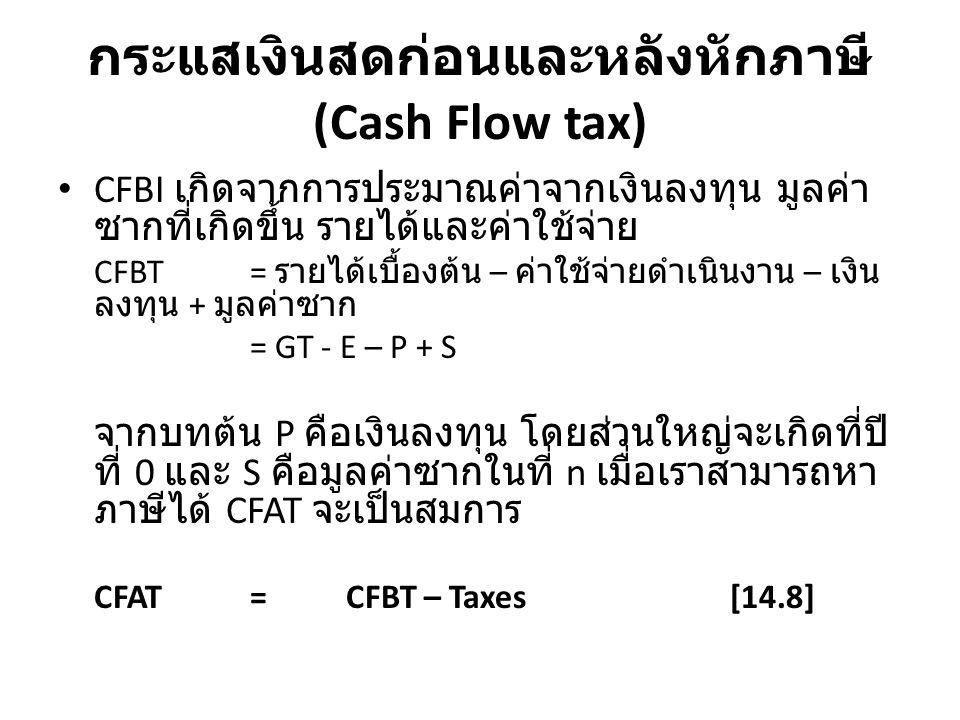 กระแสเงินสดก่อนและหลังหักภาษี (Cash Flow tax) CFBI เกิดจากการประมาณค่าจากเงินลงทุน มูลค่าซากที่ เกิดขึ้น รายได้และค่าใช้จ่าย CFBT= รายได้เบื้องต้น – ค่าใช้จ่ายดำเนินงาน – เงินลงทุน + มูลค่า ซาก = GT - E – P + S จากบทต้น P คือเงินลงทุน โดยส่วนใหญ่จะเกิดที่ปีที่ 0 และ S คือมูลค่าซากในที่ n เมื่อเราสามารถหาภาษีได้ CFAT จะเป็น สมการ CFAT = CFBT – Taxes[14.8]