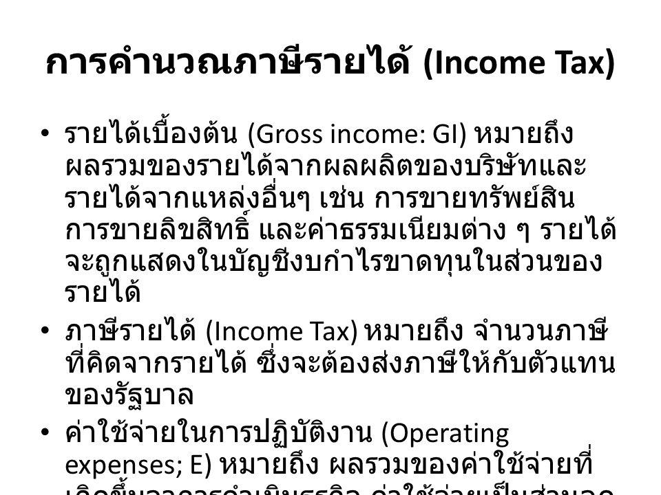 การคำนวณภาษีรายได้ (Income Tax) รายได้เบื้องต้น (Gross income: GI) หมายถึง ผลรวมของรายได้จากผลผลิตของบริษัทและ รายได้จากแหล่งอื่นๆ เช่น การขายทรัพย์สิน การ ขายลิขสิทธิ์ และค่าธรรมเนียมต่าง ๆ รายได้จะถูก แสดงในบัญชีงบกำไรขาดทุนในส่วนของรายได้ ภาษีรายได้ (Income Tax) หมายถึง จำนวนภาษีที่ คิดจากรายได้ ซึ่งจะต้องส่งภาษีให้กับตัวแทนของ รัฐบาล ค่าใช้จ่ายในการปฏิบัติงาน (Operating expenses; E) หมายถึง ผลรวมของค่าใช้จ่ายที่เกิดขึ้นจาการ ดำเนินธุรกิจ ค่าใช้จ่ายเป็นส่วนลดภาษี