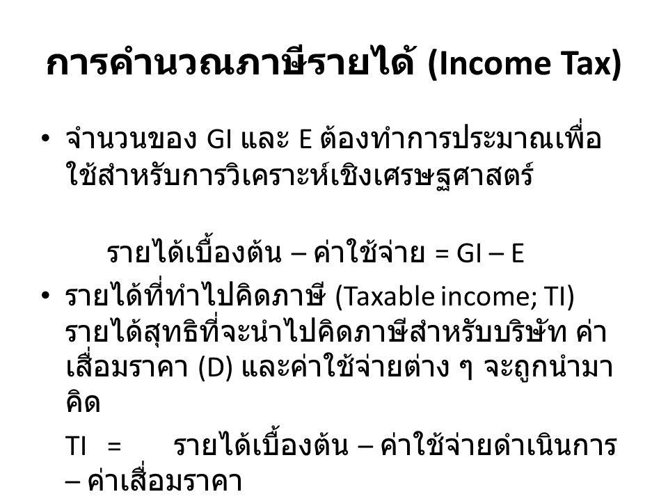 การคำนวณภาษีรายได้ (Income Tax) จำนวนของ GI และ E ต้องทำการประมาณเพื่อ ใช้สำหรับการวิเคราะห์เชิงเศรษฐศาสตร์ รายได้เบื้องต้น – ค่าใช้จ่าย = GI – E รายได้ที่ทำไปคิดภาษี (Taxable income; TI) รายได้สุทธิที่จะนำไปคิดภาษีสำหรับบริษัท ค่า เสื่อมราคา (D) และค่าใช้จ่ายต่าง ๆ จะถูกนำมา คิด TI= รายได้เบื้องต้น – ค่าใช้จ่ายดำเนินการ – ค่าเสื่อมราคา TI =GI – E – D[14.1]