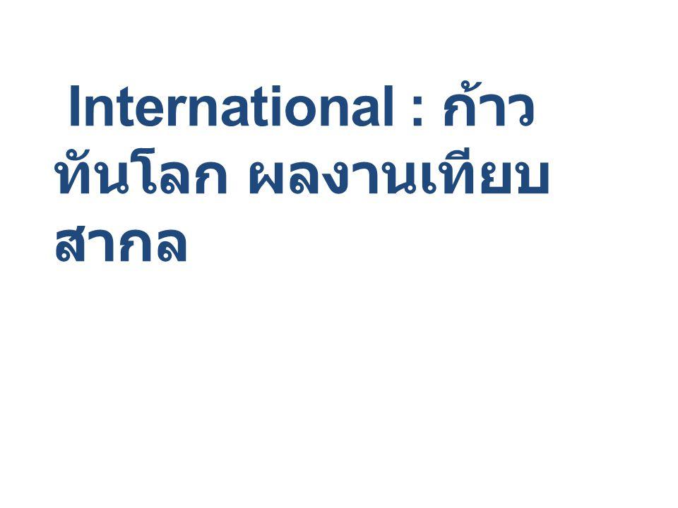International : ก้าว ทันโลก ผลงานเทียบ สากล