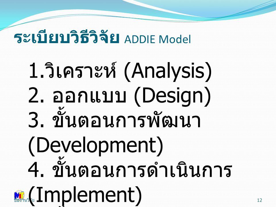 ชื่องานวิจัย 12 1. วิเคราะห์ (Analysis) 2. ออกแบบ (Design) 3. ขั้นตอนการพัฒนา (Development) 4. ขั้นตอนการดำเนินการ (Implement) 5. ขั้นประเมินผล (Evaua