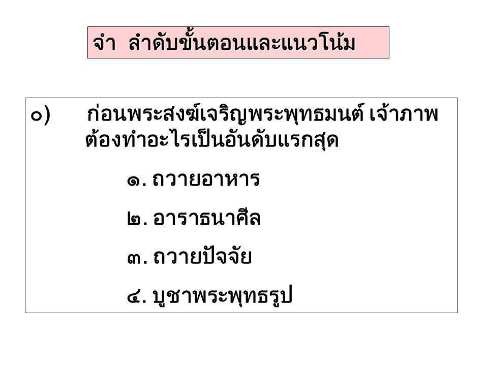จำ ลำดับขั้นตอนและแนวโน้ม ๐) ก่อนพระสงฆ์เจริญพระพุทธมนต์ เจ้าภาพ ต้องทำอะไรเป็นอันดับแรกสุด ๑. ถวายอาหาร ๒. อาราธนาศีล ๓. ถวายปัจจัย ๔. บูชาพระพุทธรูป