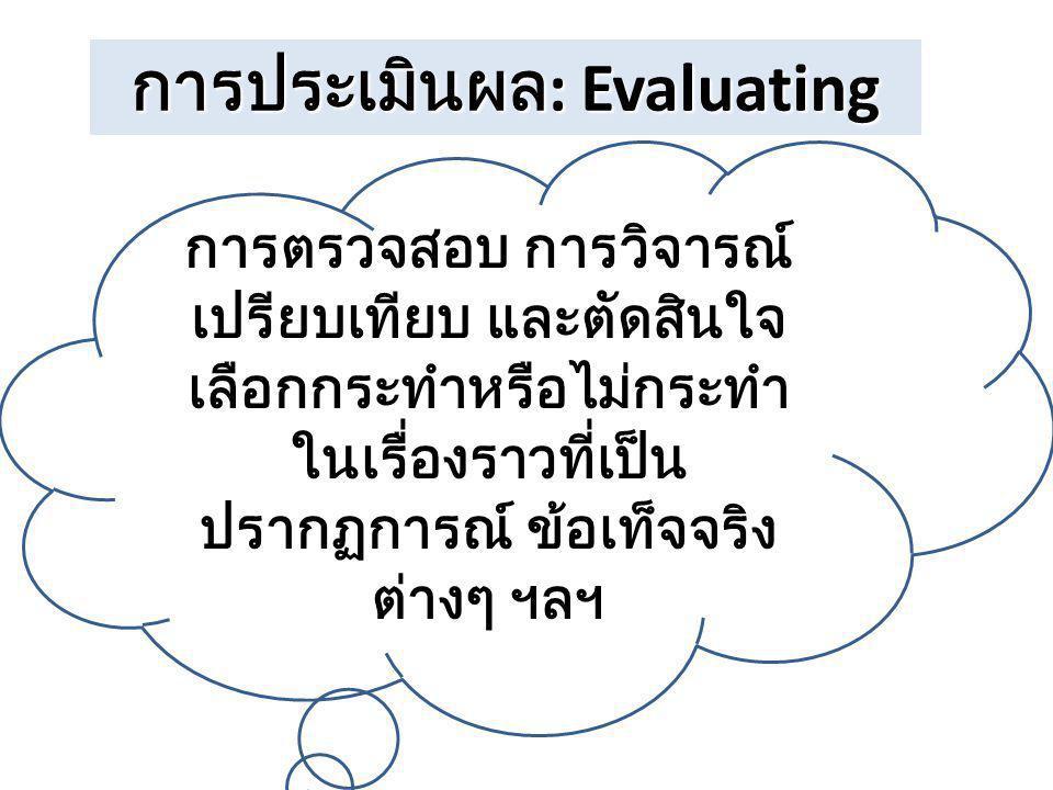การประเมินผล : Evaluating การตรวจสอบ การวิจารณ์ เปรียบเทียบ และตัดสินใจ เลือกกระทำหรือไม่กระทำ ในเรื่องราวที่เป็น ปรากฏการณ์ ข้อเท็จจริง ต่างๆ ฯลฯ