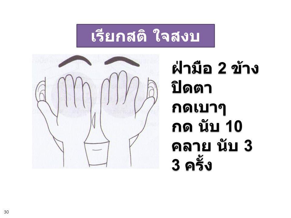 เรียกสติ ใจสงบ ฝ่ามือ 2 ข้าง ปิดตา กดเบาๆ กด นับ 10 คลาย นับ 3 3 ครั้ง ฝ่ามือ 2 ข้าง ปิดตา กดเบาๆ กด นับ 10 คลาย นับ 3 3 ครั้ง 30