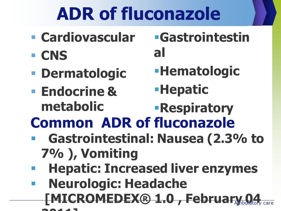  Cardiovascular  CNS  Dermatologic  Endocrine & metabolic ADR of fluconazole  Gastrointestin al  Hematologic  Hepatic  Respiratory Common ADR