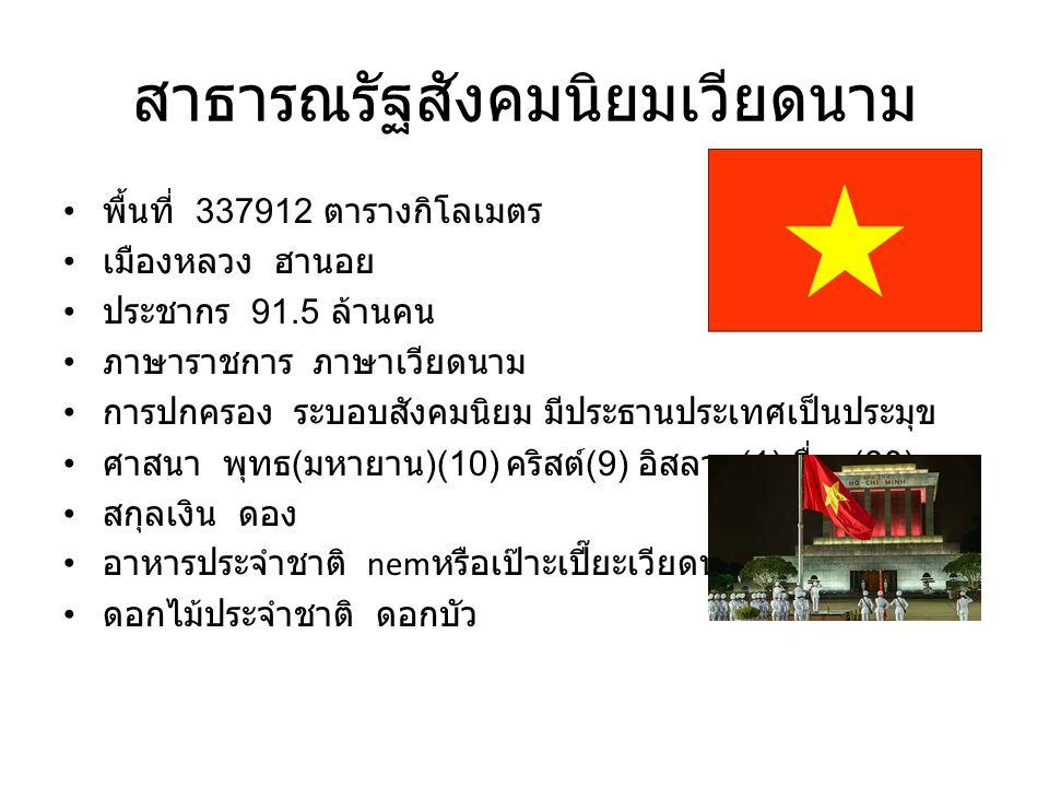 สาธารณรัฐสังคมนิยมเวียดนาม พื้นที่ 337912 ตารางกิโลเมตร เมืองหลวง ฮานอย ประชากร 91.5 ล้านคน ภาษาราชการ ภาษาเวียดนาม การปกครอง ระบอบสังคมนิยม มีประธานป