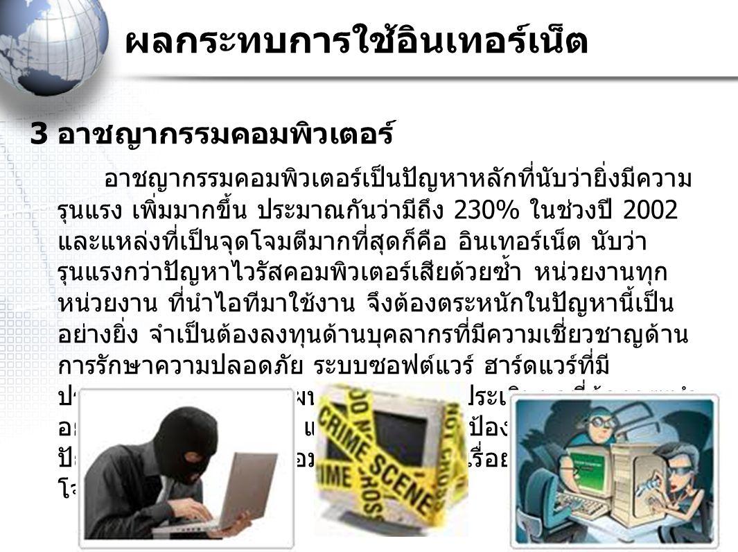 3 อาชญากรรมคอมพิวเตอร์ อาชญากรรมคอมพิวเตอร์เป็นปัญหาหลักที่นับว่ายิ่งมีความ รุนแรง เพิ่มมากขึ้น ประมาณกันว่ามีถึง 230% ในช่วงปี 2002 และแหล่งที่เป็นจุ