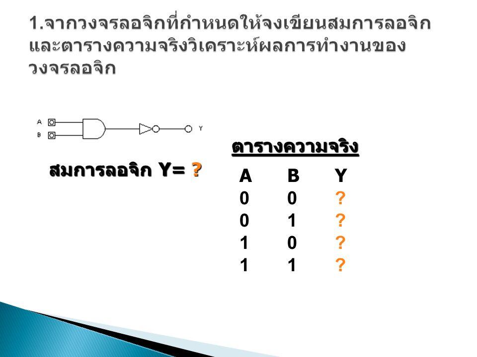 สมการลอจิก Y= ? ABY00?01?10?11?ABY00?01?10?11? ตารางความจริง