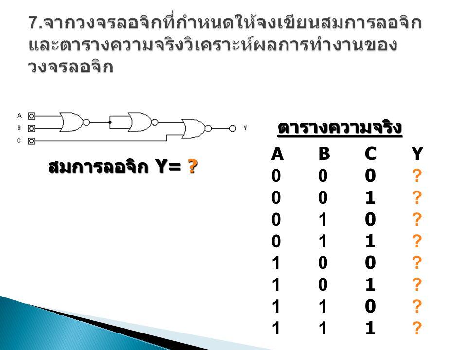 สมการลอจิก Z = .ABCY000?001?010?011?100?101?110?111?ABCY000?001?010?011?100?101?110?111.