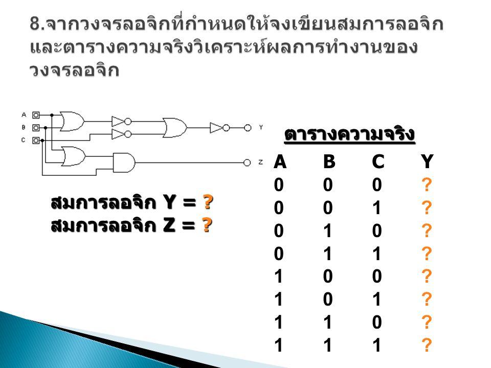 สมการลอจิก Z = ? ABCY000?001?010?011?100?101?110?111?ABCY000?001?010?011?100?101?110?111? ตารางความจริง