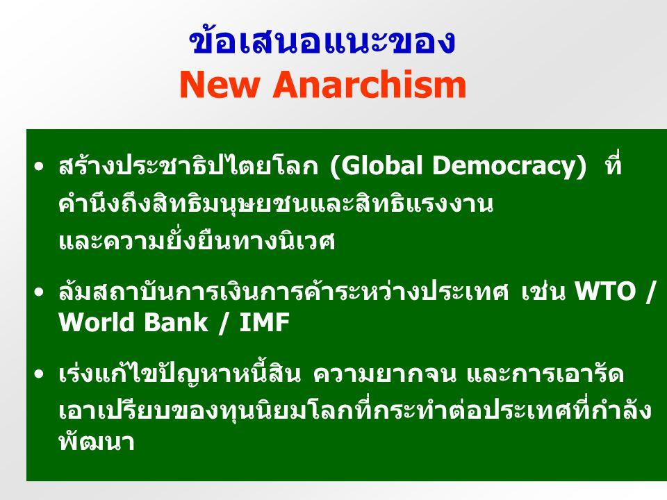ข้อเสนอแนะของ New Anarchism ต้องยุติกระแสโลกาภิวัตน์ และบั่นทอนอำนาจ อิทธิพลของกลไกต่าง ๆ ที่ส่งเสริมโลกาภิวัตน์ สร้างกฎระเบียบการค้าใหม่ (Fair Trade
