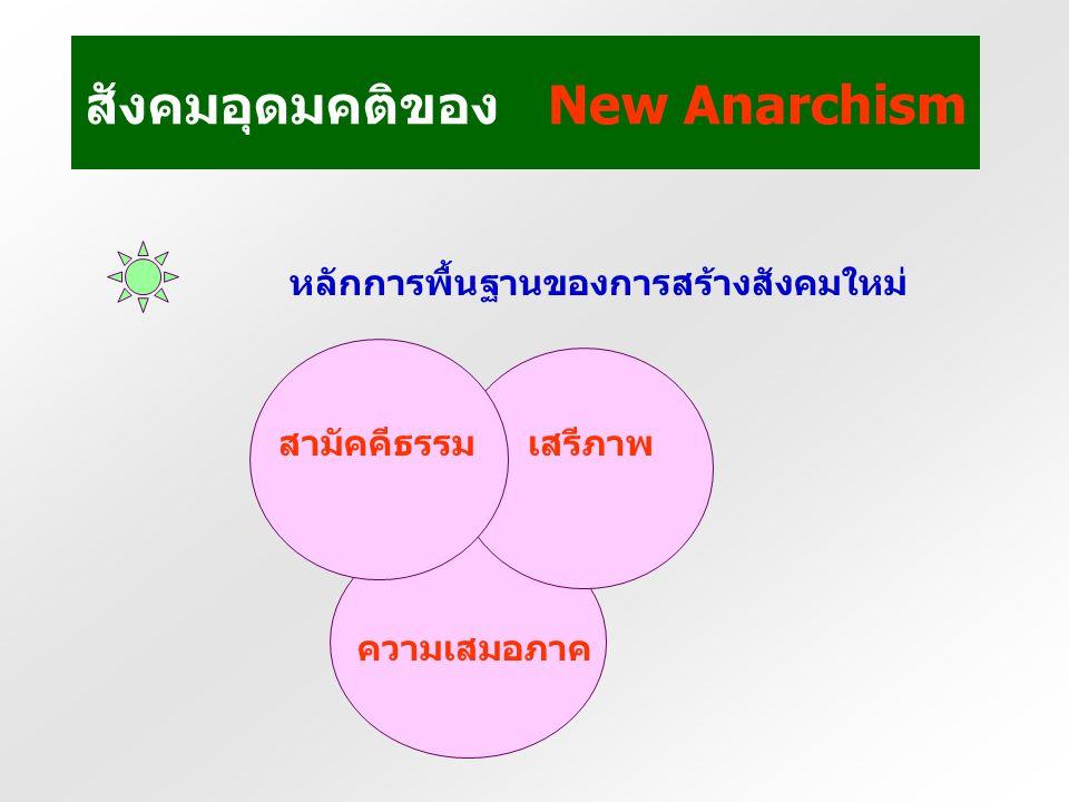ข้อเสนอแนะของ New Anarchism สร้างประชาธิปไตยโลก (Global Democracy) ที่ คำนึงถึงสิทธิมนุษยชนและสิทธิแรงงาน และความยั่งยืนทางนิเวศ ล้มสถาบันการเงินการค้