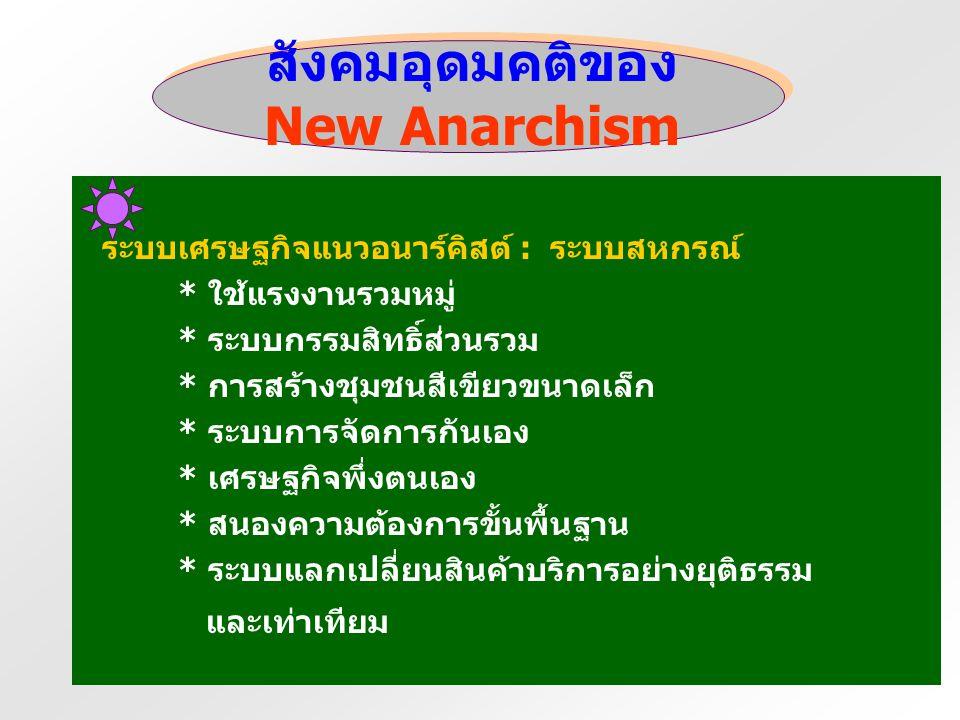 สังคมอุดมคติของ New Anarchism การเมือง / สังคม - สังคมไร้ชนชั้น - ประชาธิปไตยโดยตรง - จัดองค์กรแบบประชาคมนิยม - กระจายอำนาจอย่างกว้างขวาง - การมีส่วนร