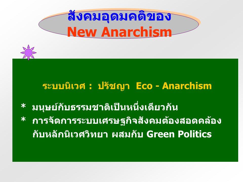 สังคมอุดมคติของ New Anarchism ระบบเศรษฐกิจแนวอนาร์คิสต์ : ระบบสหกรณ์ * ใช้แรงงานรวมหมู่ * ระบบกรรมสิทธิ์ส่วนรวม * การสร้างชุมชนสีเขียวขนาดเล็ก * ระบบก