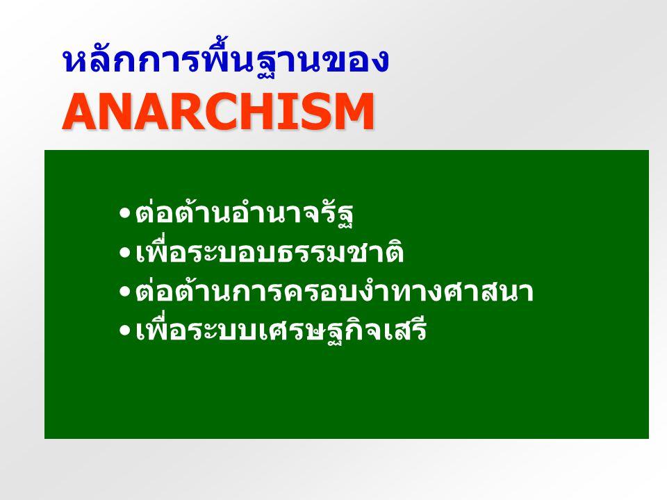 แนวคิดพื้นฐานของ ANARCHISM แนวคิดหลัก คือ การต่อต้านรัฐและ สถาบันต่าง ๆ ที่ เกี่ยวกับการปกครองและ กฎหมาย นักอนาร์คิสต์ ต้องการมีสังคมที่ ไร้รัฐ สมาชิก