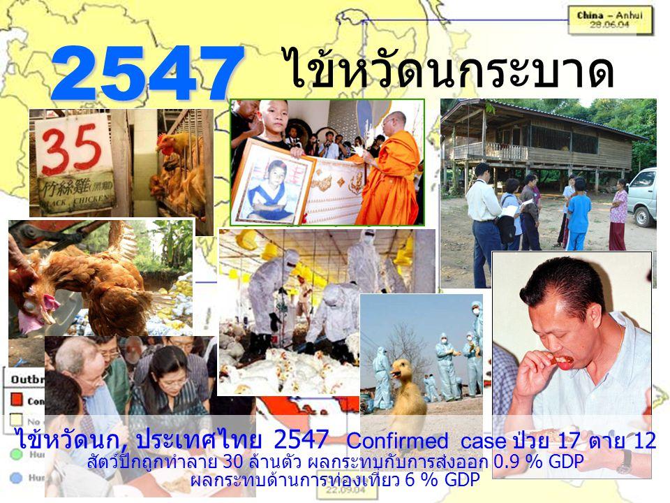 ไข้หวัดนกระบาด 2547 ไข้หวัดนก, ประเทศไทย 2547 Confirmed case ป่วย 17 ตาย 12 สัตว์ปีกถูกทำลาย 30 ล้านตัว ผลกระทบกับการส่งออก 0.9 % GDP ผลกระทบด้านการท่