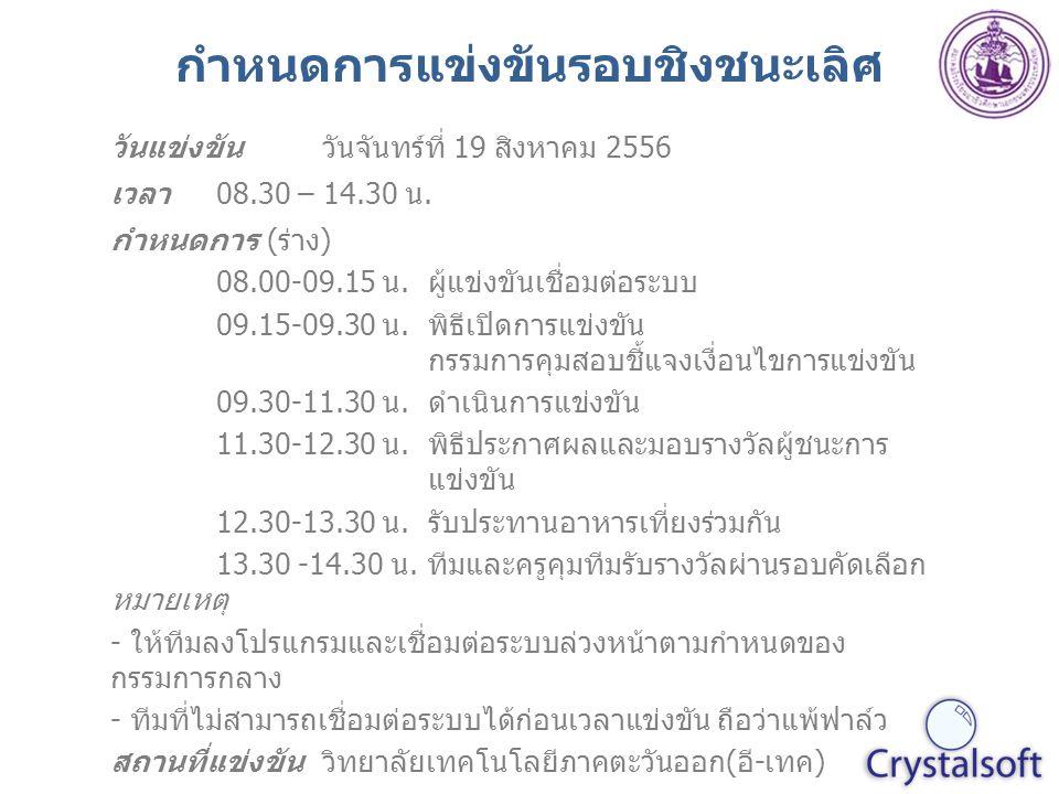 กำหนดการแข่งขันรอบชิงชนะเลิศ วันแข่งขันวันจันทร์ที่ 19 สิงหาคม 2556 เวลา08.30 – 14.30 น.