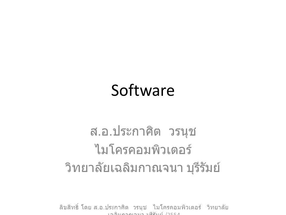 Software ส. อ. ประกาศิต วรนุช ไมโครคอมพิวเตอร์ วิทยาลัยเฉลิมกาณจนา บุรีรัมย์ ลิขสิทธิ์ โดย ส. อ. ประกาศิต วรนุช ไมโครคอมพิวเตอร์ วิทยาลัย เฉลิมกาณจนา