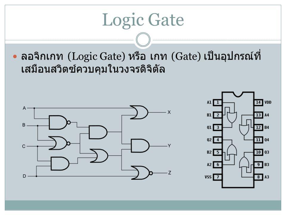 Logic Gate ลอจิกเกท (Logic Gate) หรือ เกท (Gate) เป็นอุปกรณ์ที่ เสมือนสวิตซ์ควบคุมในวงจรดิจิตัล