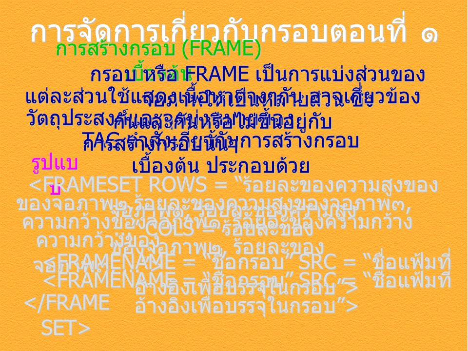 การจัดการเกี่ยวกับกรอบตอนที่ ๑ การสร้างกรอบ (FRAME) เบื้องต้น รูปแบ บ TAG คำสั่งเกี่ยวกับการสร้างกรอบ เบื้องต้น ประกอบด้วย กรอบ หรือ FRAME เป็นการแบ่ง