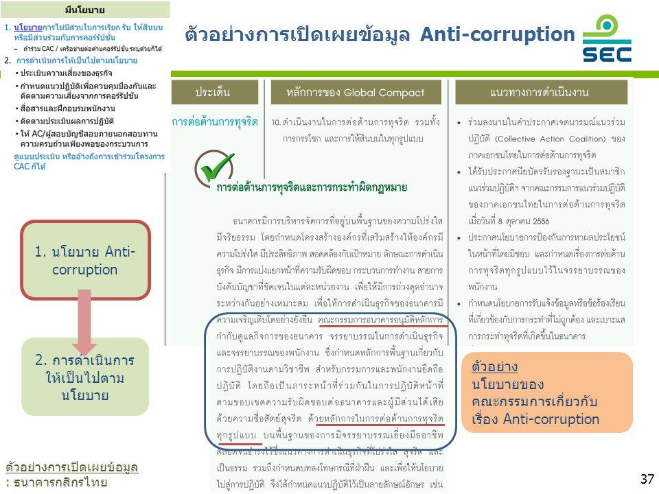 ตัวอย่างการเปิดเผยข้อมูล Anti-corruption 37 1. นโยบาย Anti- corruption 2. การดำเนินการ ให้เป็นไปตาม นโยบาย ตัวอย่าง นโยบายของ คณะกรรมการเกี่ยวกับ เรื่