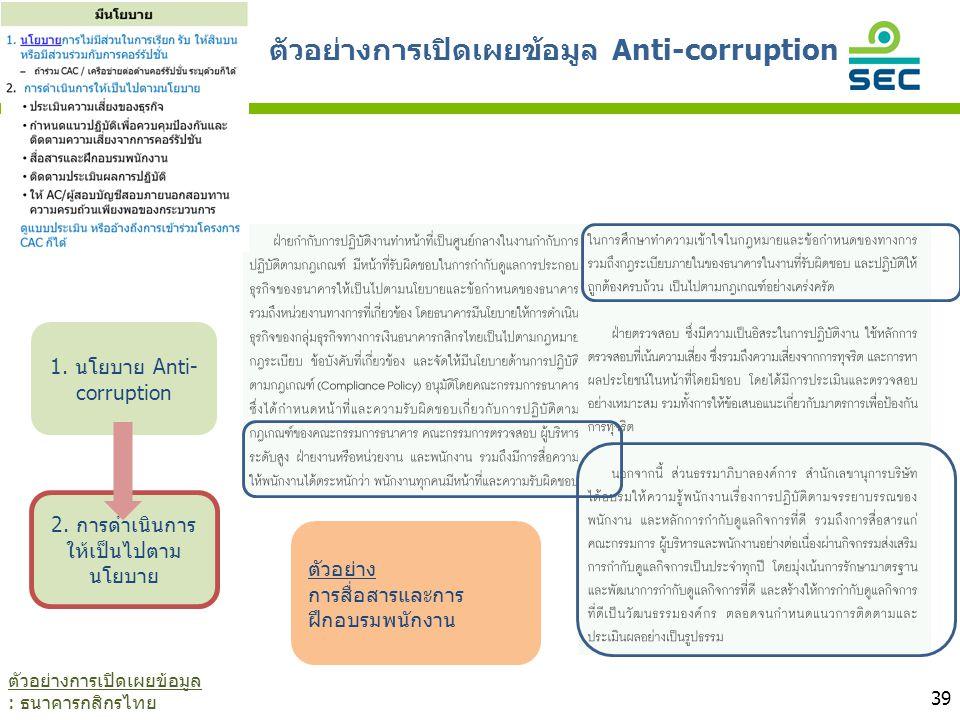 39 ตัวอย่าง การสื่อสารและการ ฝึกอบรมพนักงาน 1. นโยบาย Anti- corruption 2. การดำเนินการ ให้เป็นไปตาม นโยบาย ตัวอย่างการเปิดเผยข้อมูล Anti-corruption ตั