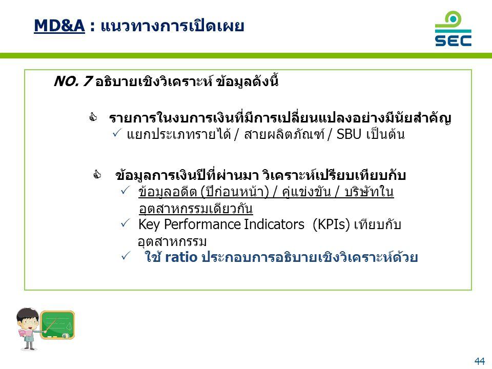 44 NO. 7 อธิบายเชิงวิเคราะห์ ข้อมูลดังนี้  รายการในงบการเงินที่มีการเปลี่ยนแปลงอย่างมีนัยสำคัญ  แยกประเภทรายได้ / สายผลิตภัณฑ์ / SBU เป็นต้น  ข้อมู