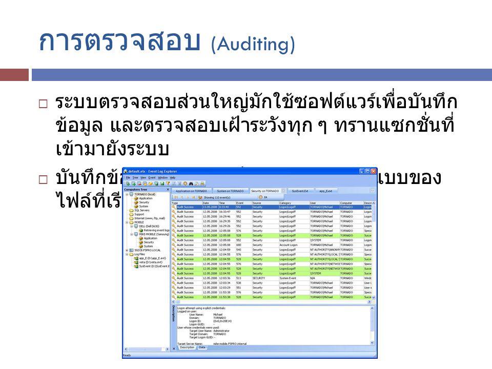 การตรวจสอบ (Auditing)  ระบบตรวจสอบส่วนใหญ่มักใช้ซอฟต์แวร์เพื่อบันทึก ข้อมูล และตรวจสอบเฝ้าระวังทุก ๆ ทรานแซกชั่นที่ เข้ามายังระบบ  บันทึกข้อมูลต่าง ๆ ไว้เป็นหลักฐานในรูปแบบของ ไฟล์ที่เรียกว่า Log File