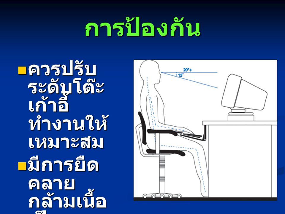 การป้องกัน ควรปรับ ระดับโต๊ะ เก้าอี้ ทำงานให้ เหมาะสม ควรปรับ ระดับโต๊ะ เก้าอี้ ทำงานให้ เหมาะสม มีการยืด คลาย กล้ามเนื้อ เป็นระยะ มีการยืด คลาย กล้าม