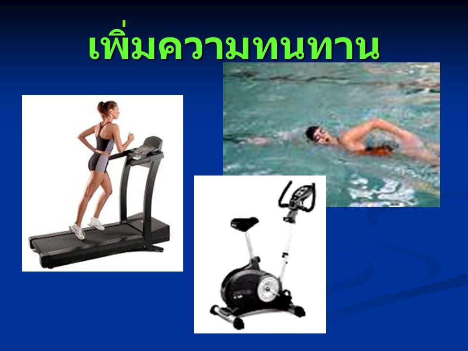 Aerobic exercise บริหารกลุ่มกล้ามเนื้อใหญ่ของ แขนขา เป็นจังหวะต่อเนื่อง ด้วยความหนักที่พอเหมาะ ( 60-85% HR max) ติดต่อกัน 20 – 60 นาที 3 –5 ครั้ง / สัปดาห์ Warm Up >>>>> EXERCISE >>>>> Cool Down 5-10 min 20-30 min 5-10 min เพิ่มความทนทาน