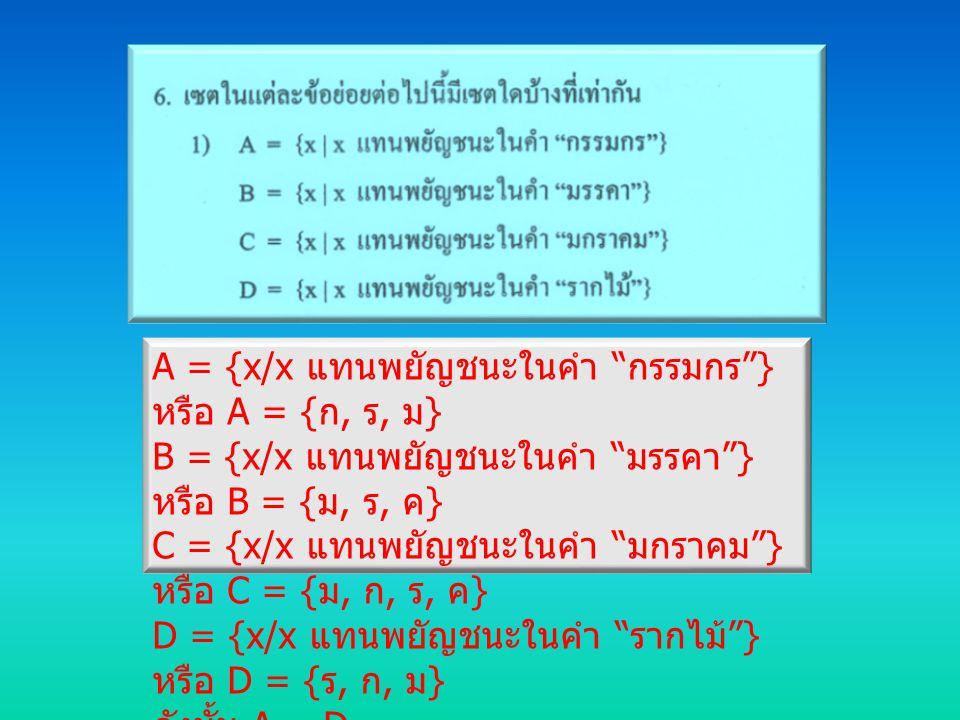 "A = {x/x แทนพยัญชนะในคำ "" กรรมกร ""} หรือ A = { ก, ร, ม } B = {x/x แทนพยัญชนะในคำ "" มรรคา ""} หรือ B = { ม, ร, ค } C = {x/x แทนพยัญชนะในคำ "" มกราคม ""} ห"