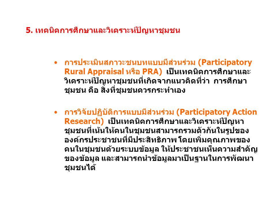 5. เทคนิคการศึกษาและวิเคราะห์ปัญหาชุมชน การประเมินสภาวะชนบทแบบมีส่วนร่วม (Participatory Rural Appraisal หรือ PRA) เป็นเทคนิคการศึกษาและ วิเคราะห์ปัญหา